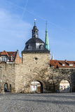 Inner city walls with the Frauentor in Mühlhausen Royalty Free Stock Photos