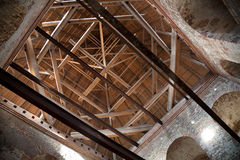 Inner construction of wooden roof it old tower Stock Image