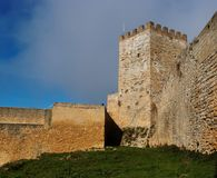 Inner court of Castello di Lombardia medieval cast. Le in Enna town, Sicily, Italy Stock Image