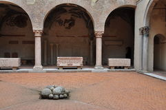 Inner court of an Italian medieval palace. Stock Photography