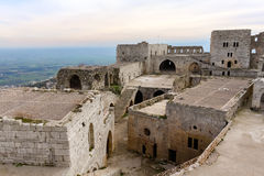 Inner court of Krak des Chevaliers Stock Images