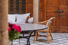 Inner court. Traditional Moroccan-French house interior Royalty Free Stock Photography