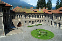 Inner courtyard. Of a century old castle at noon Royalty Free Stock Photos