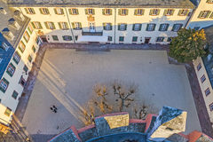 Inner courtyard of the castle in Bad Homburg seen from the tower Royalty Free Stock Photos