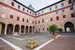 Inner courtyard of The Castle Estense in Ferrara Royalty Free Stock Image