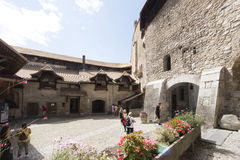 Inner courtyard of Chillon Castle, Switzerland royalty free stock photos