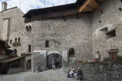 Inner courtyard of Chillon Castle, Switzerland Stock Photo
