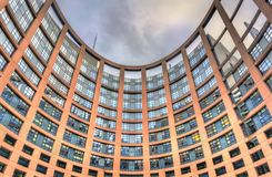 Inner courtyard of the European Parliament building in Strasbourg, France. Strasbourg, France - December 5, 2017: Inner courtyard of the European Parliament Royalty Free Stock Photography
