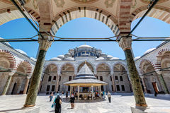 The inner courtyard of the Fatih Mosque (Conqueror's Mosque) in Stock Photography