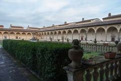 Inner courtyard of Florence Charterhouse church. Certosa di Galluzzo di Firenze. Italy. royalty free stock images