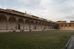 Inner courtyard of Florence Charterhouse church. Certosa di Galluzzo di Firenze. Italy. stock image