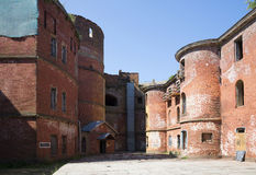 The inner courtyard of the Fort Emperor Alexander I. Kronstadt Royalty Free Stock Photography