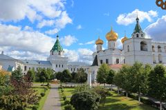 The inner courtyard of the Ipatiev Monastery on a sunny day. royalty free stock photo