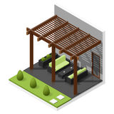 Inner courtyard isometric icon set Stock Photos