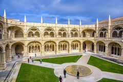 Inner courtyard of the Jeronimos Monastery Cloister in Lisbon Royalty Free Stock Image