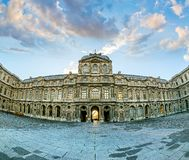 The inner courtyard of the Louvre at the time sunset Stock Photo