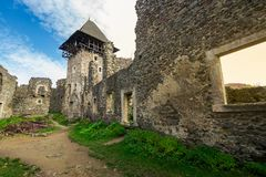 Inner courtyard with main tower of Nevytsky castle. Ruins. popular travel attraction of TransCarpathia royalty free stock photos