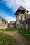 Inner courtyard with main tower of Nevytsky castle. Ruins. popular travel attraction of TransCarpathia stock images