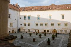 Inner courtyard of the medieval fagarasi fortress Royalty Free Stock Image