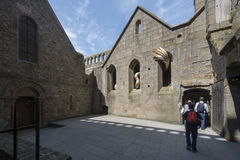 Inner courtyard at Mont Saint Michel Abbey, France Royalty Free Stock Photos