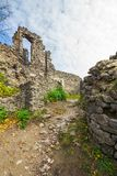 Inner courtyard of Nevytsky castle ruins. Popular tourist destination in Ukraine. beautiful autumn weather stock photos