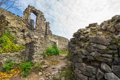 Inner courtyard of Nevytsky castle ruins. Popular tourist destination in Ukraine. beautiful autumn weather stock images