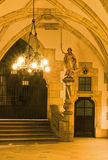 Inner courtyard of New Town Hall in Munchen. Chandelier illuminates statue of Justice in inner courtyard of New Town Hall in Munchen Stock Photos
