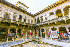 Inner courtyard of an old Haveli in Mandawa Royalty Free Stock Photography