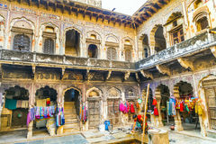Inner courtyard of an old Haveli in Mandawa Stock Image
