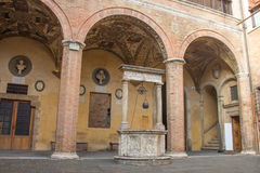 Inner courtyard of Palazzo Chigi-Saracini, SIena, Tuscany, Italy. Royalty Free Stock Photography
