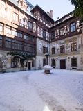 The inner courtyard at The Peles Castle, Romania Royalty Free Stock Photo