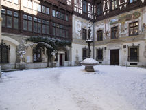 The inner courtyard at The Peles Castle, Romania Stock Photo