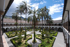The inner courtyard of San Francisco monastery, Quito, Ecuador royalty free stock image