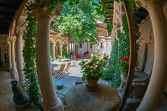 Inner courtyard of Stavropoleos monastery Royalty Free Stock Photo