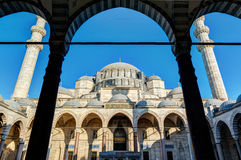 The inner courtyard of the Suleymaniye Mosque in Istanbul Royalty Free Stock Photography