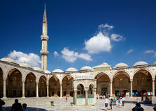 The inner courtyard of Sultan Ahmed Mosque (Blue Mosque), Istanb. ISTANBUL, TURKEY - JULY 14, 2014:  The inner courtyard of Sultan Ahmed Mosque (Blue Mosque Royalty Free Stock Photo
