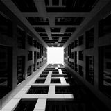Inner courtyard of tall modern office tower. 3d Stock Images