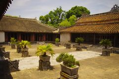 An inner courtyard of the tomb of King Tu Duc in H. A courtyard where only the Emperor Tu Duc, the Nguyen dynasty, had access Stock Photos