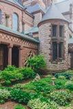 Inner courtyard of Trinity Church in Boston, USA stock photos