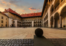 The inner courtyard of the Wawel Castle in Krakow, Poland Royalty Free Stock Image