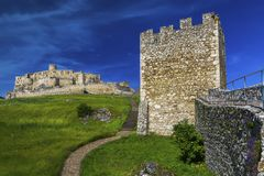 Inner courtyard of the white stone medieval castle stock photos