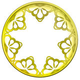 Inner decorated golden baroque  circle frame Stock Photos