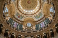 Wisconsin State Capitol rotunda and inner dome. Inner dome of the Wisconsin State Capitol from the rotunda floor in Madison, Wisconsin stock photos