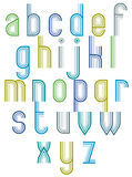 Inner Echo striped retro 70's style font. Royalty Free Stock Images
