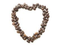 Inner-Form erstellt von den frischen Kaffeebohnen - Leinenhintergrund stockbilder