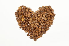 Inner-Form erstellt von den frischen Kaffeebohnen - Leinenhintergrund stockfoto