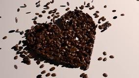 Inner-Form erstellt von den frischen Kaffeebohnen - Leinenhintergrund stock footage