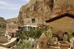 Inner garden of Mar Saba convent, Israel. Royalty Free Stock Images