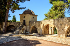 Inner garden monastery of Arkadi, Crete, Greece Stock Image