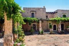 Inner garden monastery of Arkadi, Crete, Greece Royalty Free Stock Photo